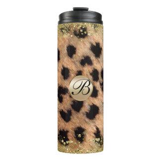 Leopard Cheetah Animal Print Gold Glitter Monogram Thermal Tumbler