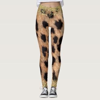 Leopard Cheetah Animal Print Gold Glitter Trendy Leggings