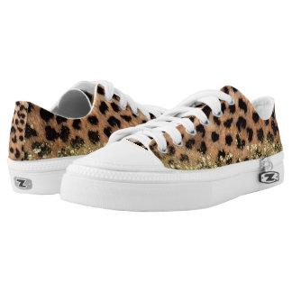 Leopard Cheetah Animal Print Gold Glitter Trendy Low Tops