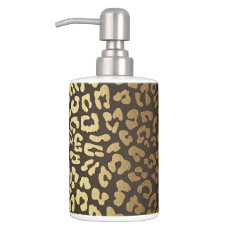 Leopard Cheetah Animal Skin Print Modern Glam Gold Soap Dispenser And Toothbrush Holder