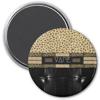 Leopard Cheetah Leather Vape 3 Inch Round Magnet