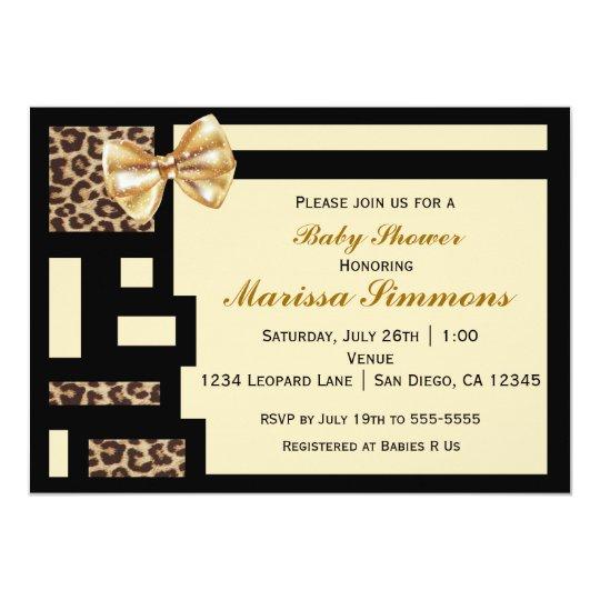 Leopard Colour Block Black Cream baby Invitation