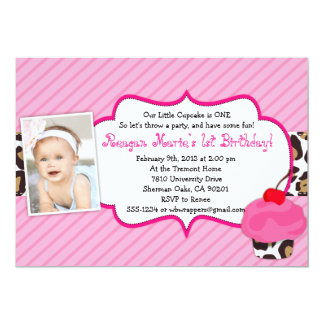 LEOPARD Cupcake Birthday Invitation - Girly