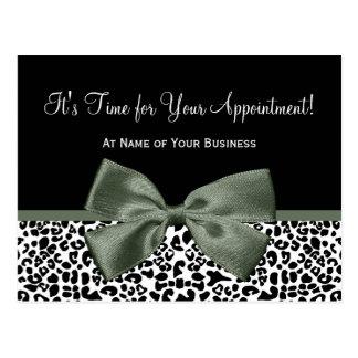 Leopard Dark Green Bow Salon Appointment Reminder Post Card