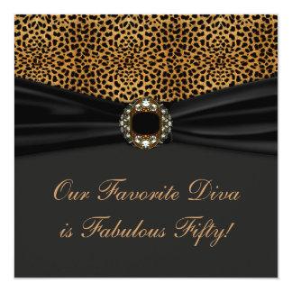 Leopard Diva Womans Fabulous 50th Birthday Party 13 Cm X 13 Cm Square Invitation Card
