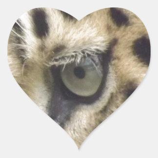 Leopard Face Heart Sticker