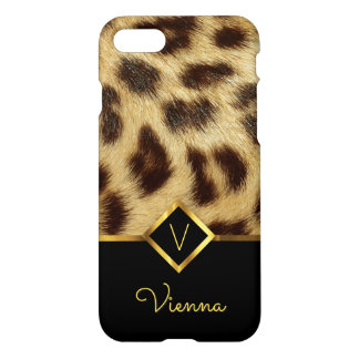 Leopard Faux Fur Ladies Monogram Black and Gold iPhone 8/7 Case