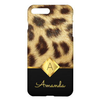 Leopard Faux Fur Ladies Monogram Black and Gold iPhone 8 Plus/7 Plus Case