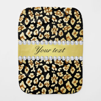 Leopard Faux Gold Glitter and Foil Black Burp Cloth