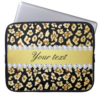 Leopard Faux Gold Glitter and Foil Black Computer Sleeves