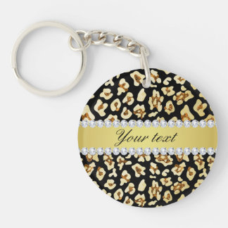 Leopard Faux Gold Glitter and Foil Black Double-Sided Round Acrylic Key Ring