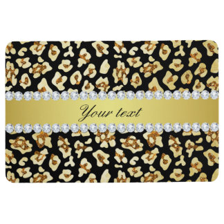 Leopard Faux Gold Glitter and Foil Black Floor Mat