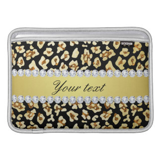 Leopard Faux Gold Glitter and Foil Black MacBook Sleeves
