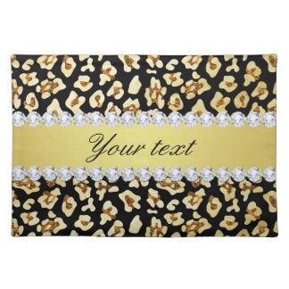 Leopard Faux Gold Glitter and Foil Black Placemat