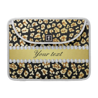 Leopard Faux Gold Glitter and Foil Black Sleeves For MacBooks