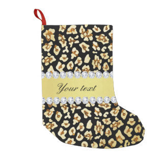 Leopard Faux Gold Glitter and Foil Black Small Christmas Stocking