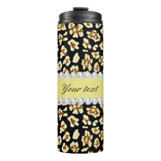 Leopard Faux Gold Glitter and Foil Black Thermal Tumbler