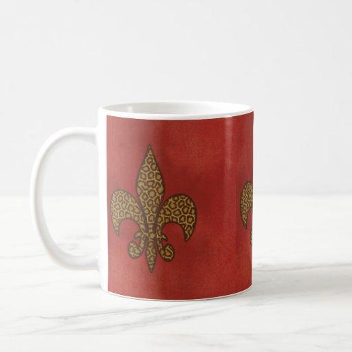 Leopard fleur de lis mugs