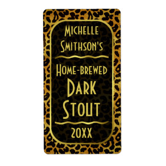Leopard Fur Print Customizable Beer Brewer Shipping Label