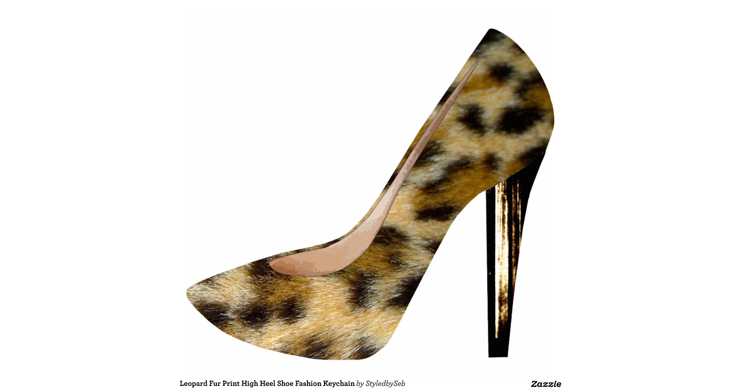 leopard fur print high heel shoe fashion keychain photo