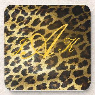 Leopard Fur Print Monogram Coasters
