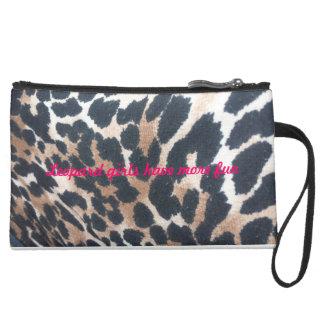 leopard girls have more fun wristlet purses