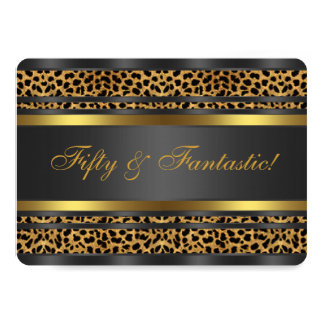 Leopard Gold Black Womans 50th Birthday Party 13 Cm X 18 Cm Invitation Card