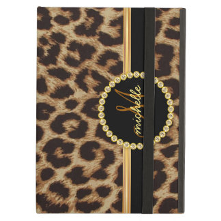 Leopard Gold Bling Monogram iPad Air Case