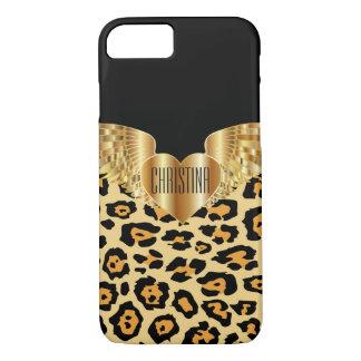 Leopard Gold Wings Heart Custom Electronics Case