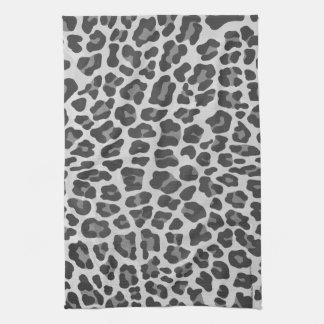 Leopard Gray and Light Gray Print Tea Towel