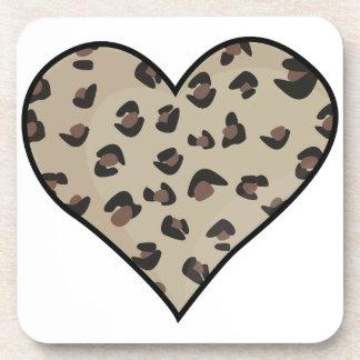 Leopard Heart Beverage Coaster