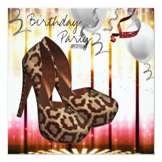 Leopard High Heel Shoes Disco Birthday Party 13 Cm X 13 Cm Square Invitation Card