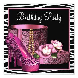 Leopard High Heel Shoes Pink Zebra Birthday Party 13 Cm X 13 Cm Square Invitation Card