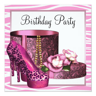 Leopard High Heel Shoes Pink Zebra Birthday Party Card