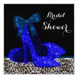 Leopard High Heels Royal Blue Bridal Shower 13 Cm X 13 Cm Square Invitation Card