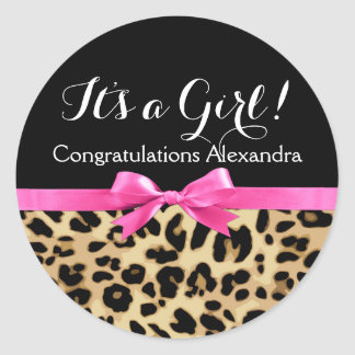 Leopard Hot Pink Bow Its a Girl Safari Baby Shower Round Sticker
