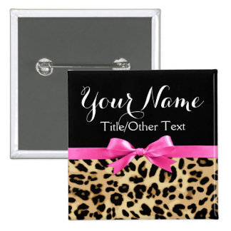 Leopard Hot Pink Bow Personalized Name Tag 15 Cm Square Badge