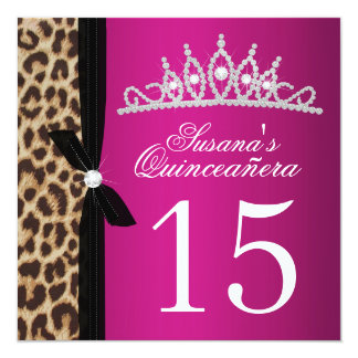 "leopard hot pink Quinceanera 5.25"" Square Invitation Card"