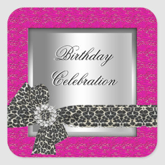 Leopard Hot Pink silver Birthday Party Celebration Square Sticker