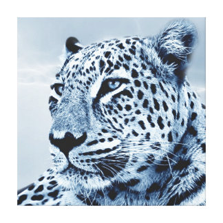 Leopard in Black and White Stretched Canvas Print