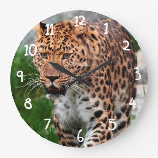 Leopard in the wild large clock