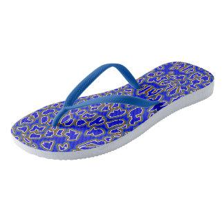 Leopard Inspired Blue-Gold Flip Flops
