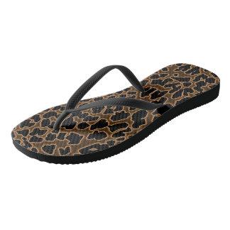 Leopard Inspired Brown-Black Flip Flops