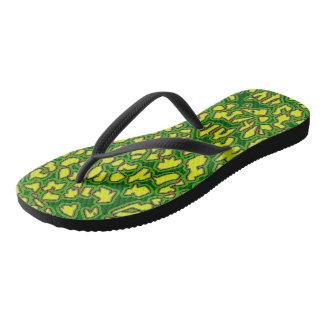 Leopard Inspired Green Yellow Flip Flops