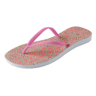 Leopard Inspired Pink-Gold Flip Flops