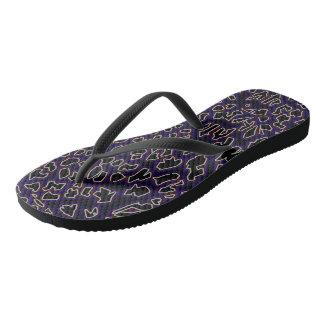 Leopard Inspired Purple-Black Flip Flops