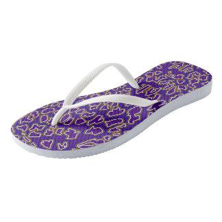 Leopard Inspired Purple Gold Flip Flops