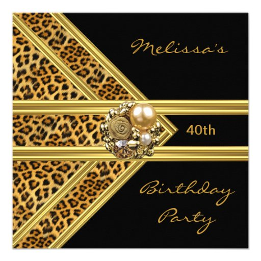 Leopard Invitation Elegant Black Velvet gold jewel Invite