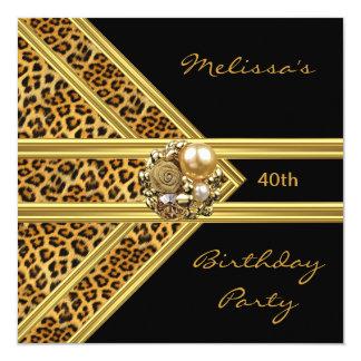 Leopard Invitation Elegant Black Velvet gold jewel