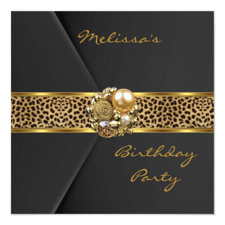 Leopard Invitation Elegant Black Velvet gold jewel